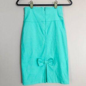 Mint Bow Pencil Skirt